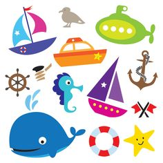 Sailboat clipart nautical baby shower Nautical Elements Scrapbooking Use boy