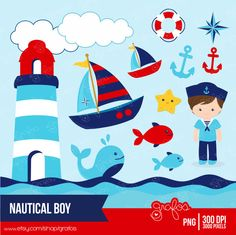 Sailboat clipart nautical baby shower INSTANT boy Baby baby clipart