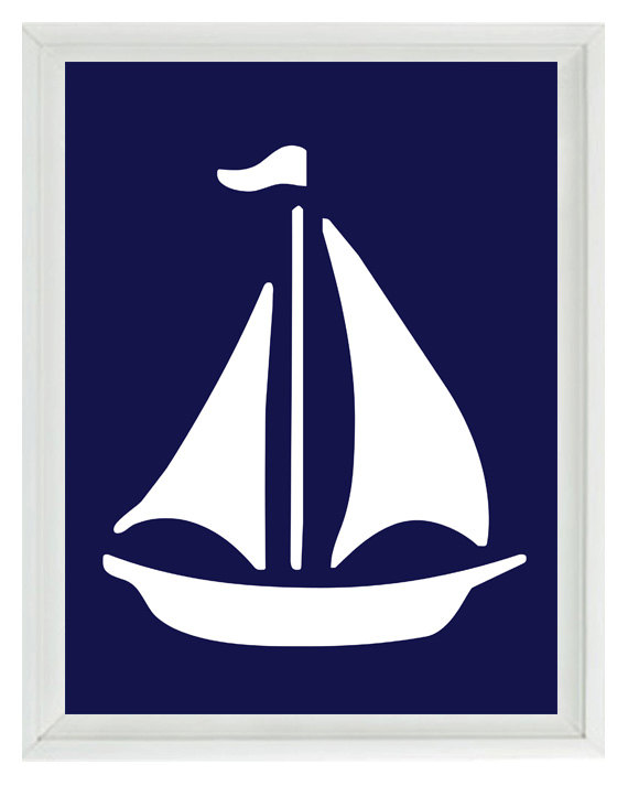 Sailing Boat clipart navy blue Decor Navy Like Blue Sailboat