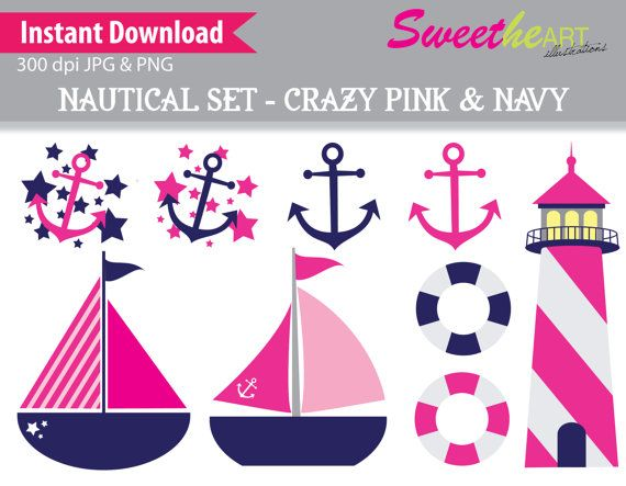Pink clipart nautical Art Sailboat Free Download Clip