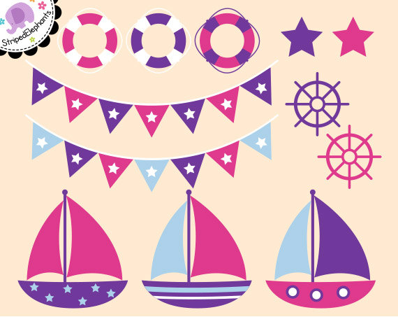 Sailboat clipart purple #12