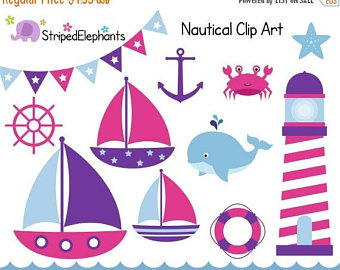 Pink clipart nautical Clip Boat SALE 40% Nautical