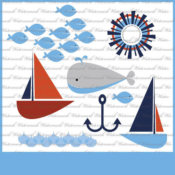 Blue Whale clipart sailboat Nautical  Sailboat red navy