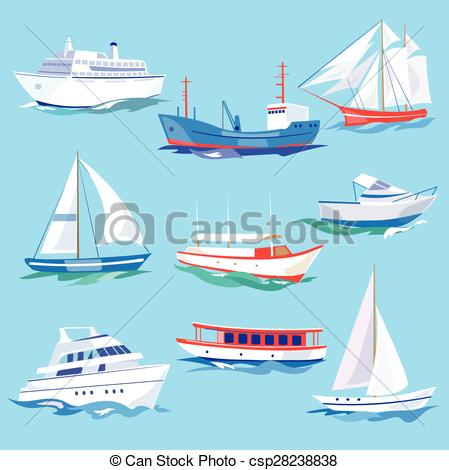 Sailboat clipart sea transport Water Ships Set Set Water