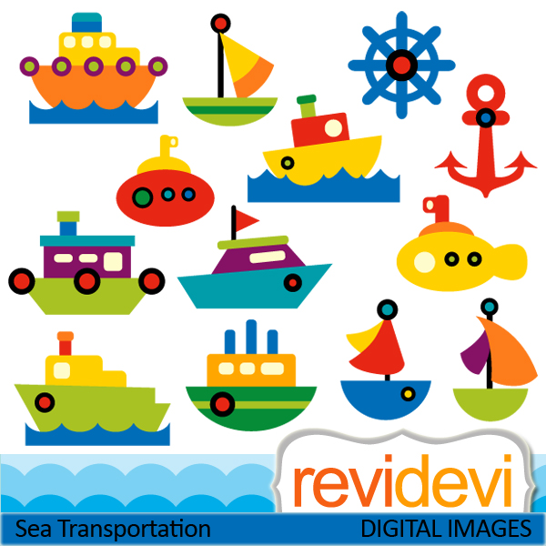 Sailboat clipart sea transport Ships Boats Cute sea Boats