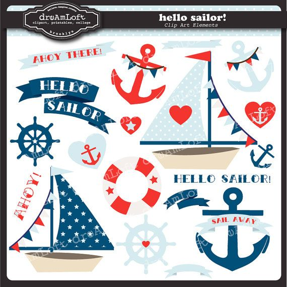 Sailing Boat clipart themed Nautical Sailing SCHOOL Themed Art