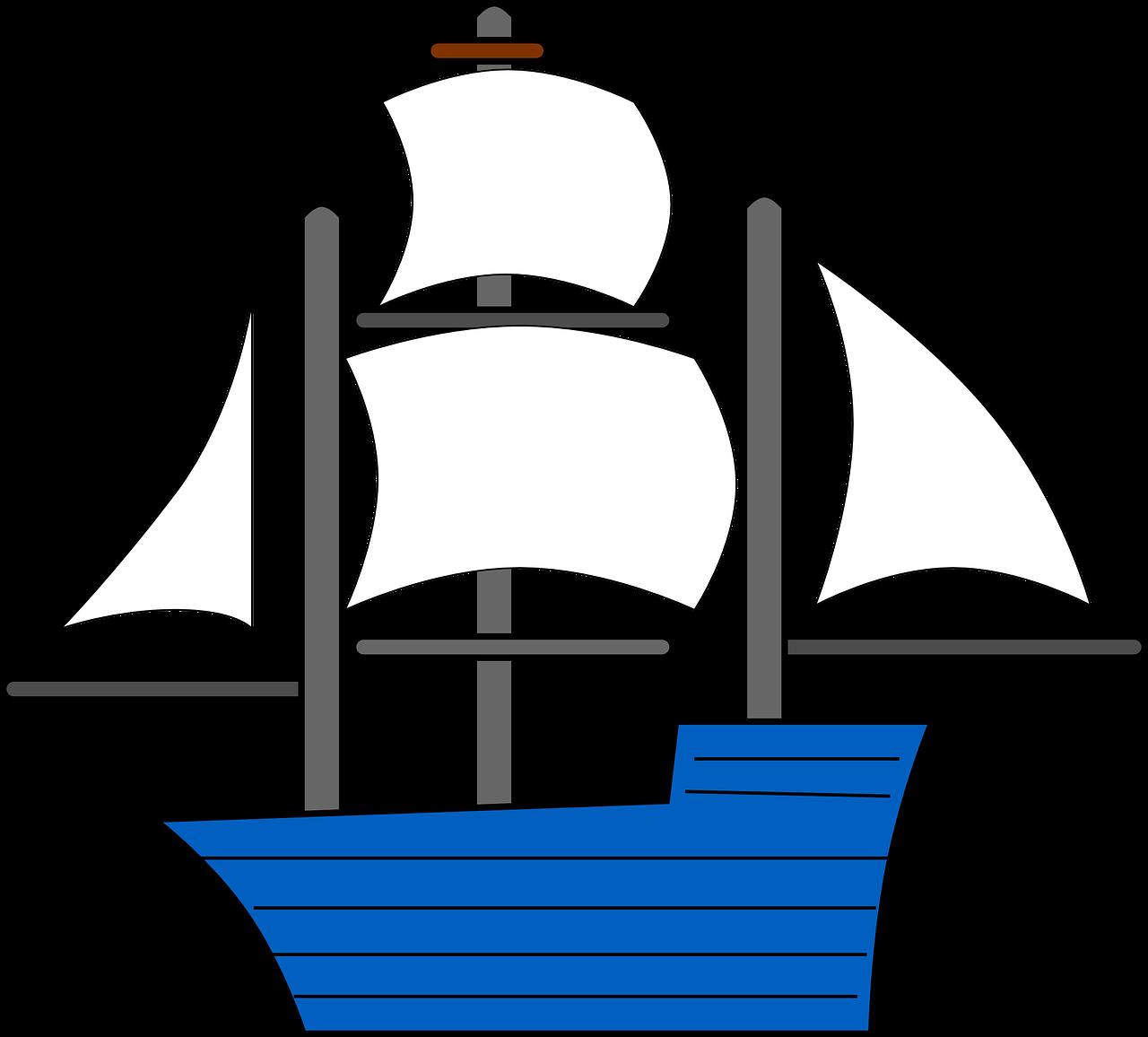Sailboat clipart transparent Blue Sails image Ship Sailing