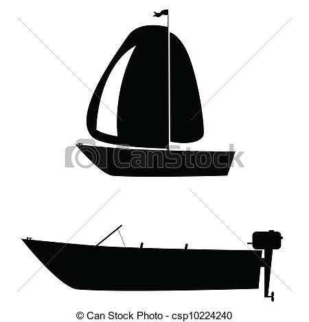 Sailboat clipart two White  of on silhouette