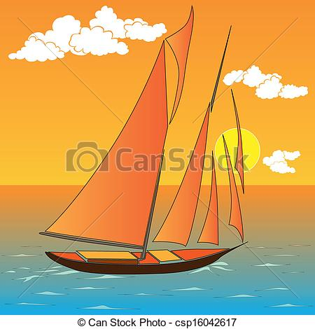 Sailboat clipart yatch Art Cartoon yacht sailing Vector