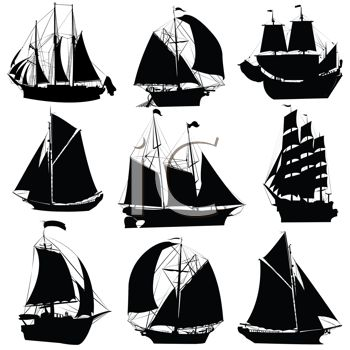 Sailing Boat clipart clipper ship Silhouettes Silhouettes Different Ships Segelschiffe