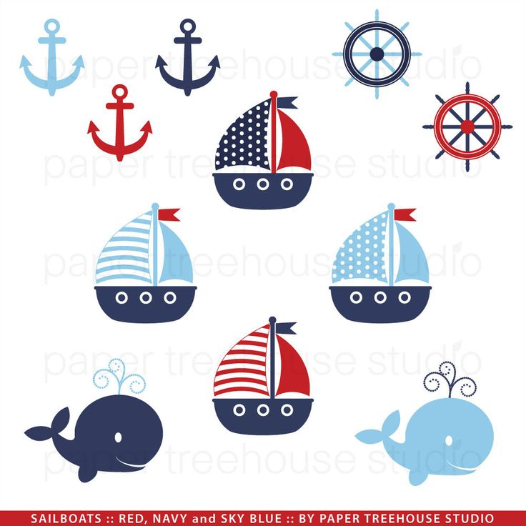 Sailing Boat clipart nautical theme Whales Anchors on and Print
