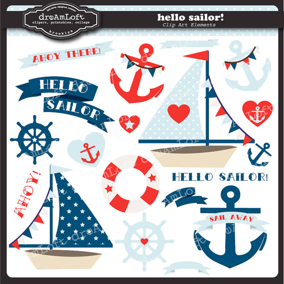 Sailing Boat clipart nautical theme Temáticas Collection Clip ThemeSailor DreAmLoft