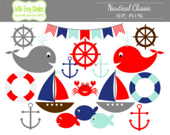 Blue Whale clipart sailboat OFF Red Nautical 40% SALE