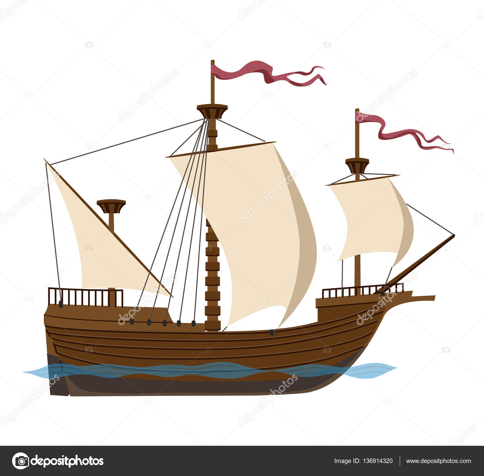 Sailing clipart big boat Square ark beautiful river ship