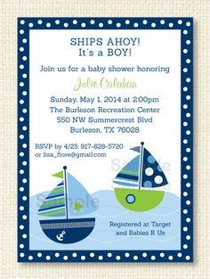 Sailing clipart themed Navy / Invite Cute Invitation