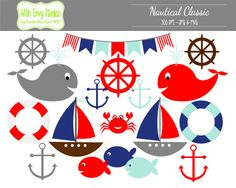 Sailing clipart themed 80% Blue Clipart Nautical Fish