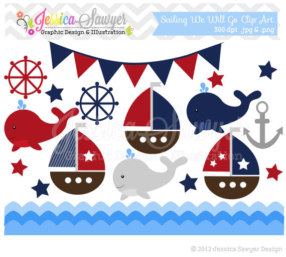 Sailing clipart themed Announcements invitations nautical INSTANT art