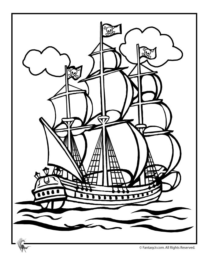 Sailing Ship clipart colouring page Or Fantasy Printables Ships Pages