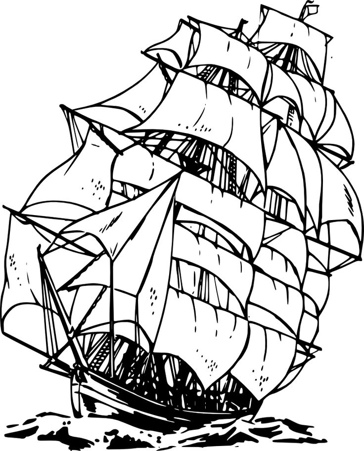 Sailing Ship clipart colouring page Boats Clipper and images ships