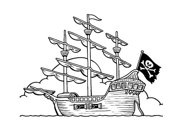 Sailing Ship clipart colouring page Pirate kids pirate kids ship