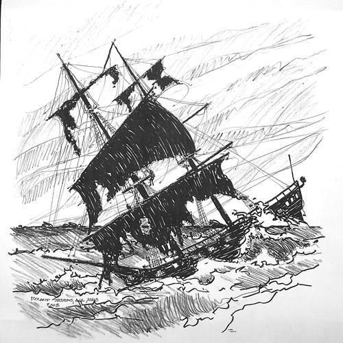 Compass clipart ship wreck British in 1780 HMS Explorers