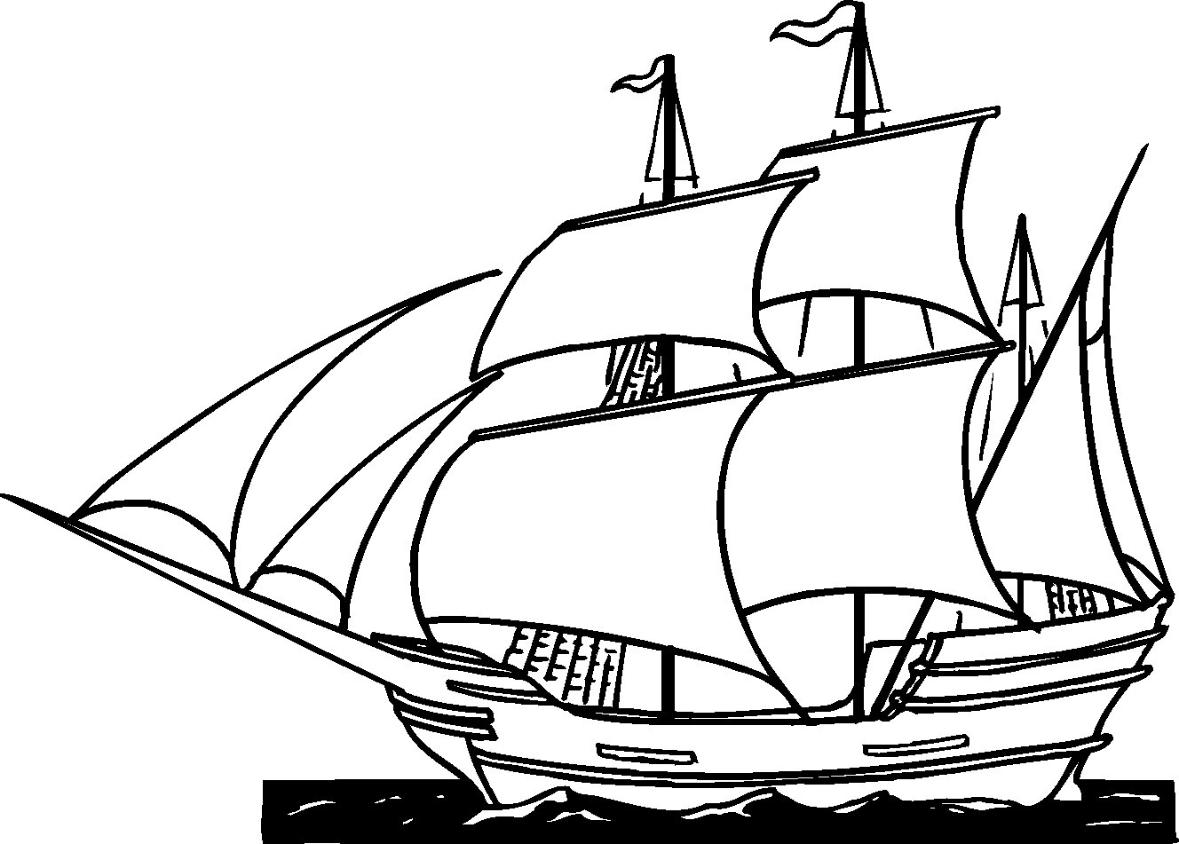 Old Sailing Ships clipart coloring page For History Free Ships Pages