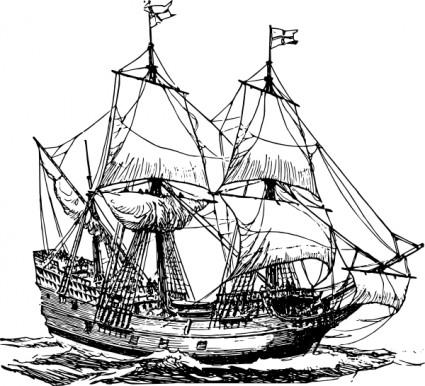 Sailing Ship clipart kapal Clip Coloring Pirate Search lịch
