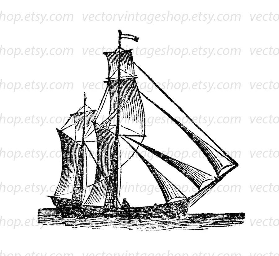 Sailing Boat clipart navy ship File digital Graphic Sail Art