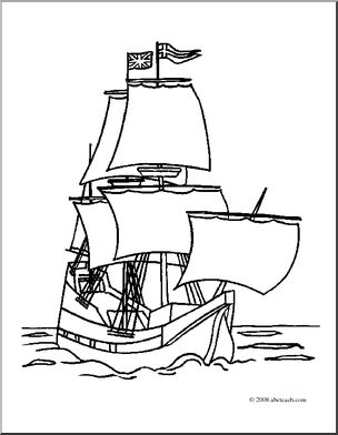 Sailing Ship clipart mayflower ship (coloring image page) Mayflower page)