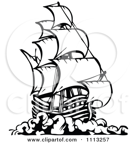 Sailing Ship clipart mayflower ship Art Ship black clip White