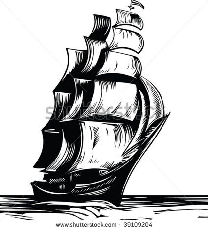 Old Sailing Ships clipart black and white 7 White ship art best