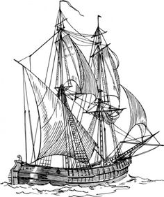Old Sailing Ships clipart black and white Free and and on sea
