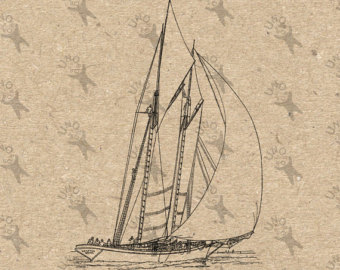 Drawn yacht printable Digital printable Download ship clipart