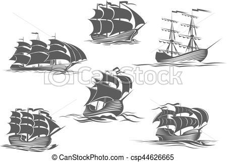 Sailing Ship clipart treasure map Yacht sailboat icon and brigantine