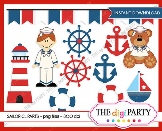 Sailor clipart teddy bear Download art red boat instant