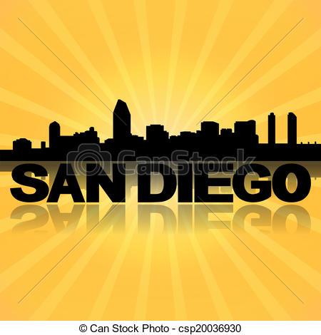 San Diego clipart Clipart royalty sunburst skyline with