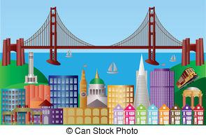San Francisco clipart Stock Francisco City Art Panorama