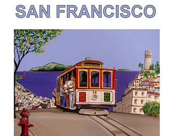 Trolley clipart san francisco cable car Hydrant Street Coit Fire illustration