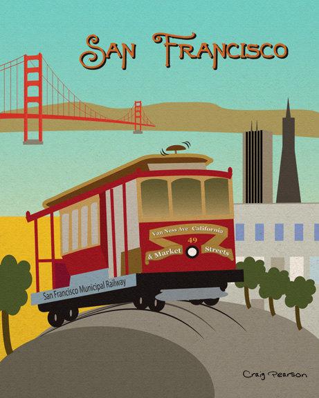 Trolley clipart san francisco cable car Print Cable unframed Art California