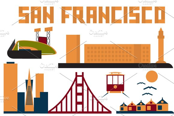 San Francisco clipart San of Objects landmarks on