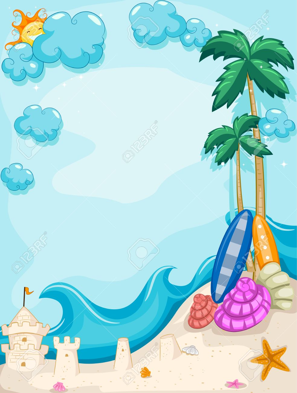 The Sea clipart beach background Clipart frame by vertical sand