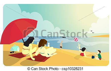 Vacation clipart sunny beach Vectors of People Beach sunny
