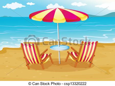 Beach clipart ocean scene The A umbrella seashore umbrella