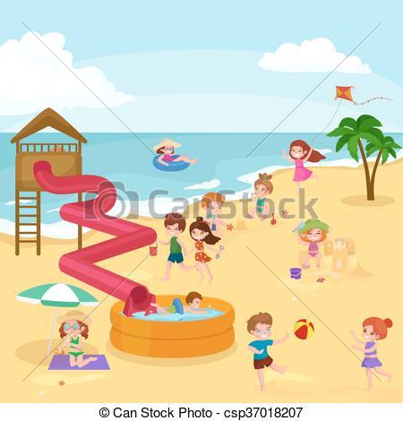 Vacation clipart kid beach  vacation Children around Kids
