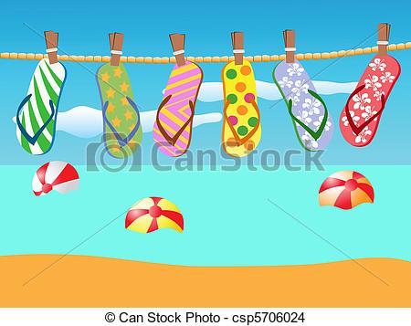 Sandal clipart beach theme #10