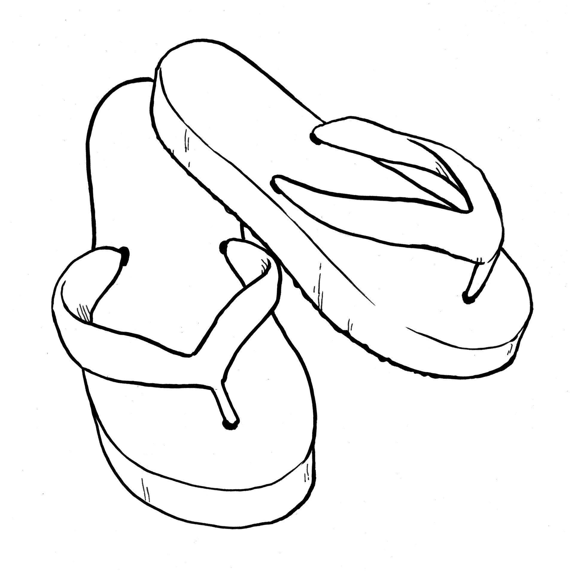 Sandal clipart black and white #9