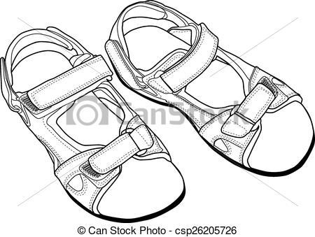 Sandal clipart black and white #8