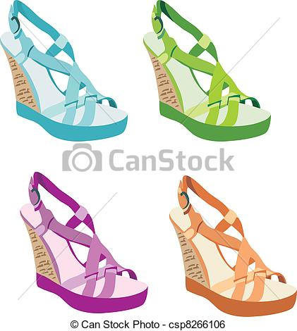 Sandal clipart footwear Clip on Womanish of Vector