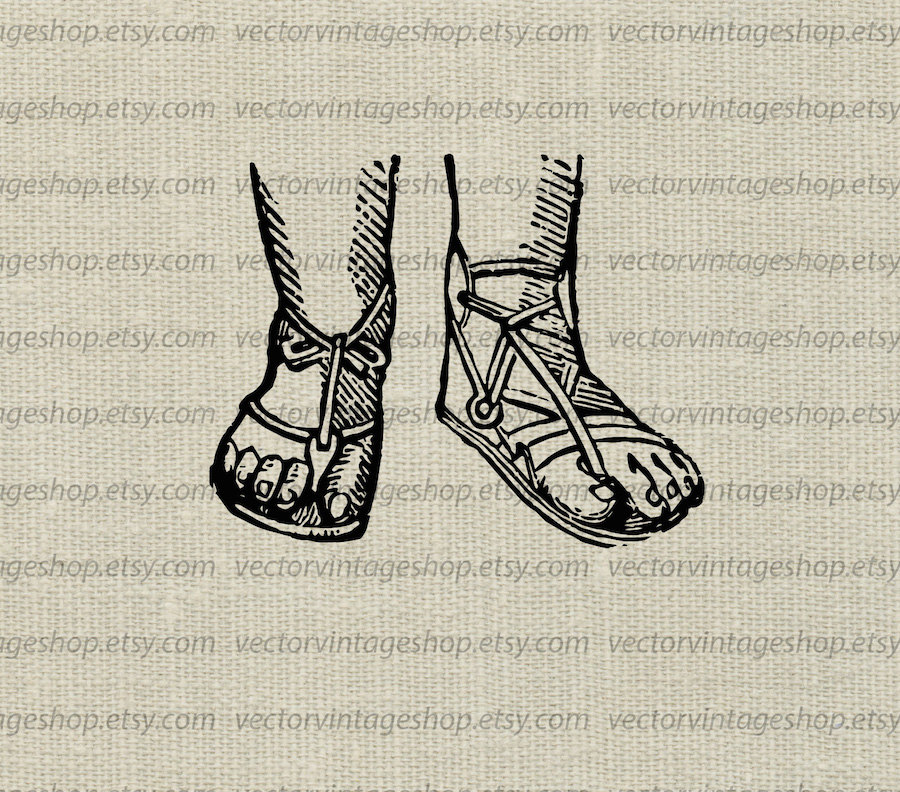 Sandal clipart roman Instant sandals digital This clothing