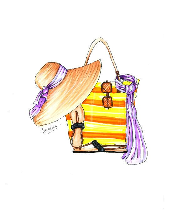 Sandal clipart summer hat A hat sandals on fashion